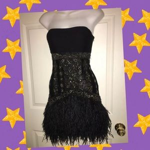 💋SUE WONG NOCTURNE BLACK BEADED DRESS FEATHERS